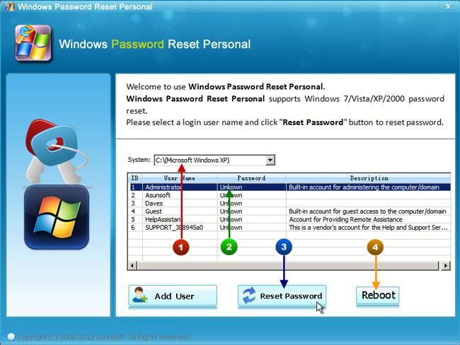 how to reset windows xp password