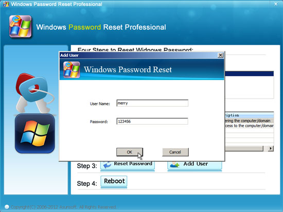 create new user to windows 2000 offline