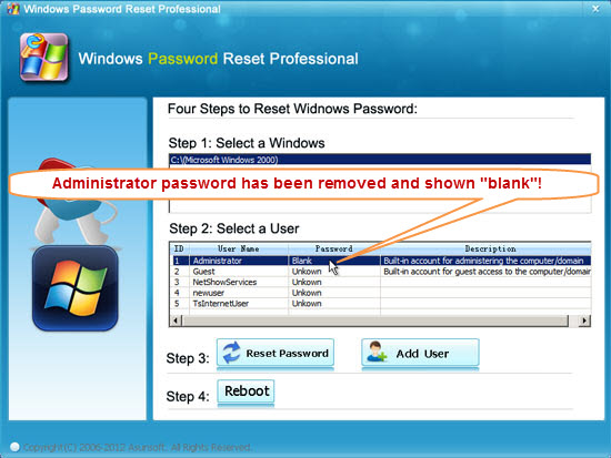 remove windows 2000 password