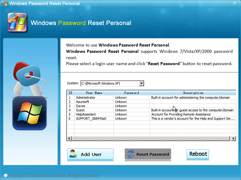 Easily bypass Windows XP password.