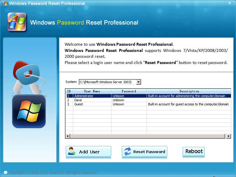 Laptop Password Reset